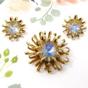 Sarah Coventry Mystic Blue Vintage Brooch Earrings